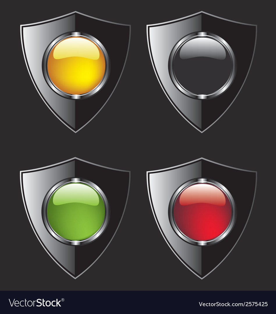 Shield with different color buttons vector | Price: 1 Credit (USD $1)
