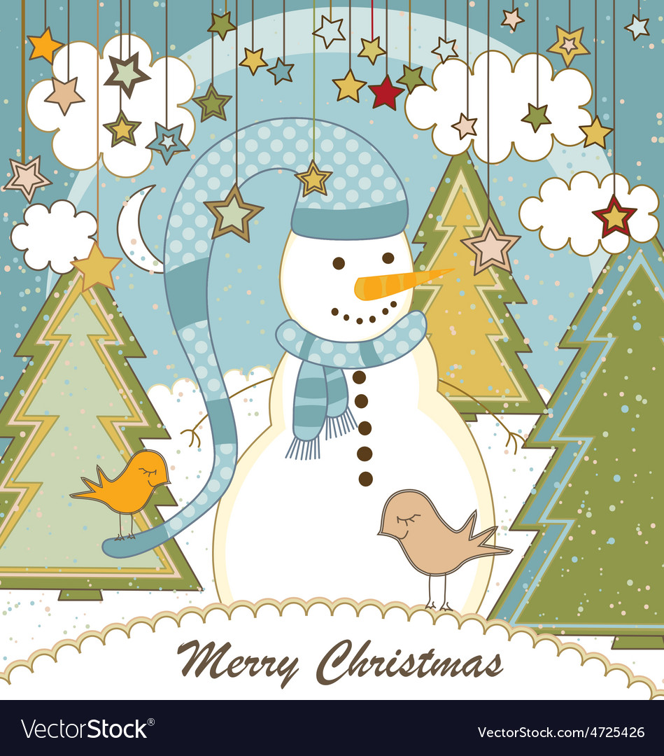 A cute christmas card with a snowman vector | Price: 1 Credit (USD $1)