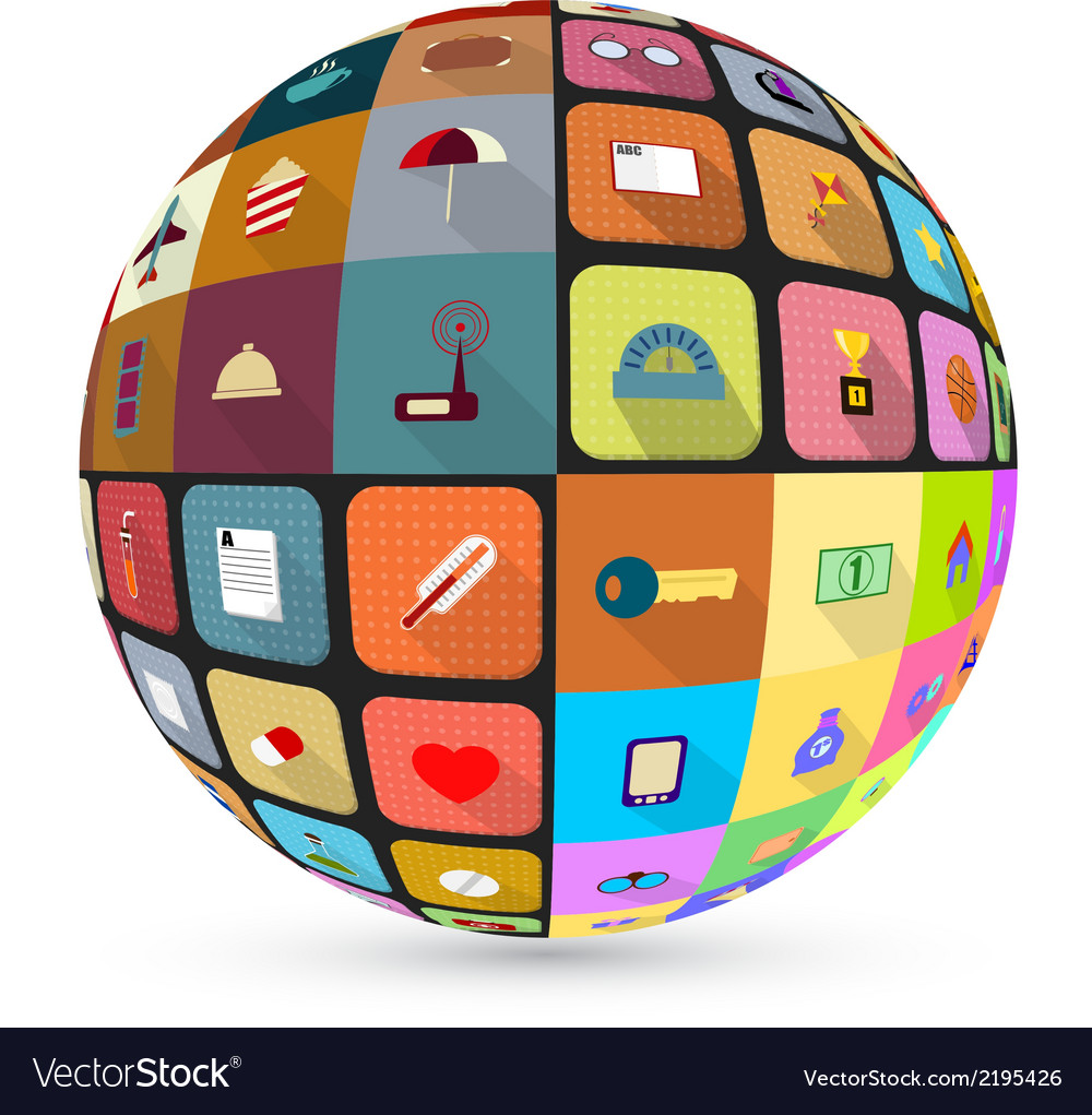 Abstract globe with flat icons vector | Price: 1 Credit (USD $1)