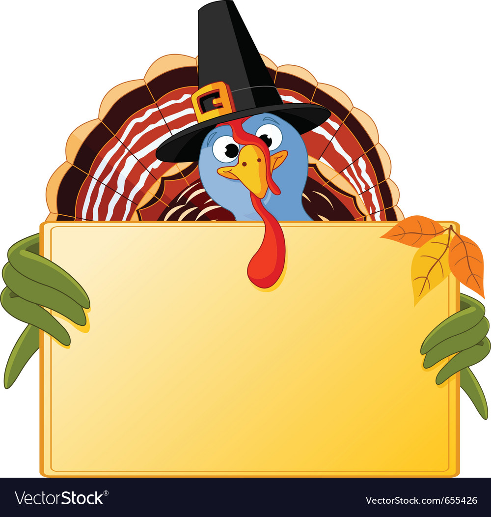 Cartoon turkey banner vector | Price: 3 Credit (USD $3)