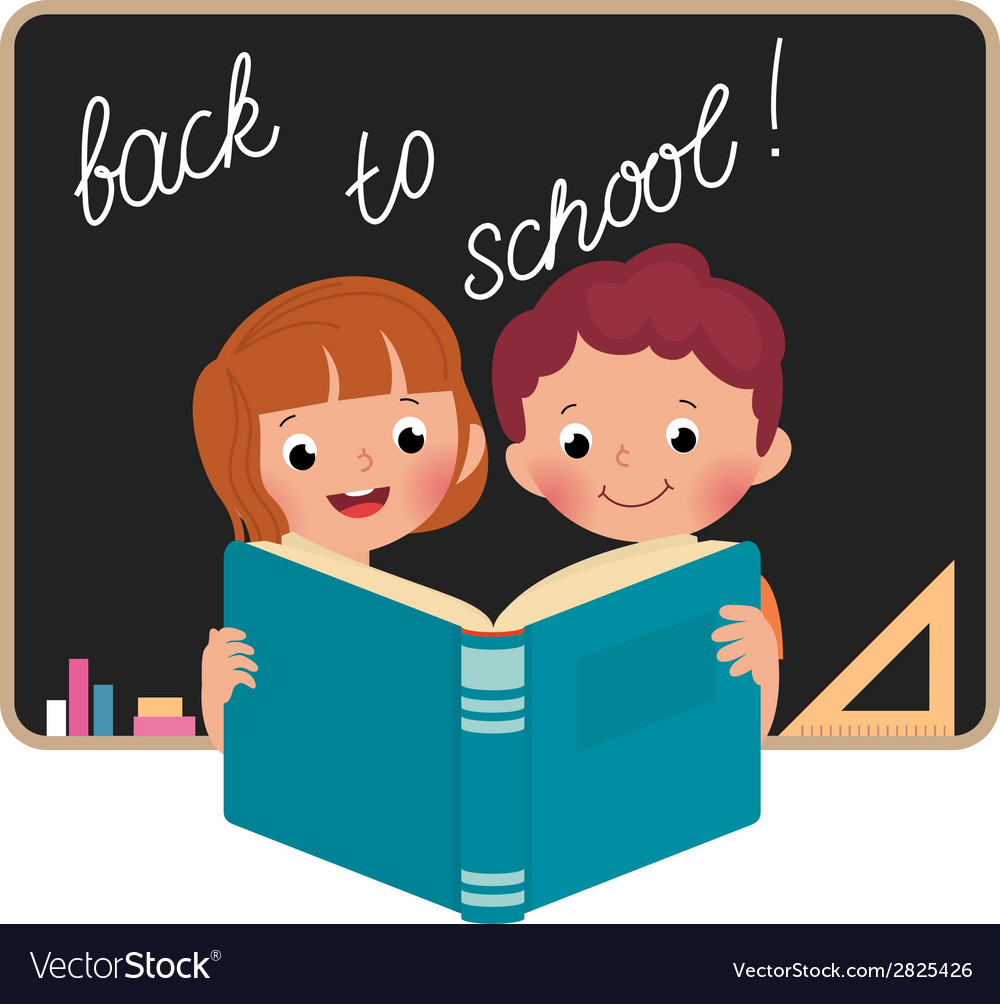 Children at school reading a book vector | Price: 1 Credit (USD $1)