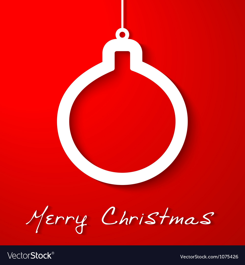 Christmas white ball applique on red background vector | Price: 1 Credit (USD $1)