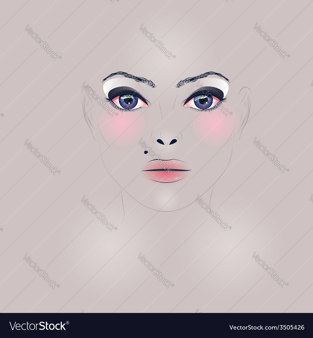 Fashion girl face vector   Price: 1 Credit (USD $1)