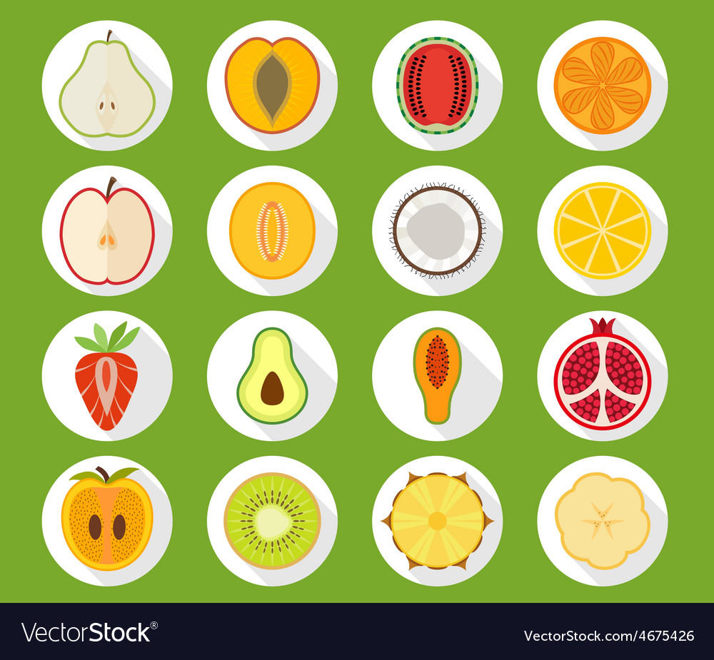 Fruit icon set with long shadow vector | Price: 1 Credit (USD $1)