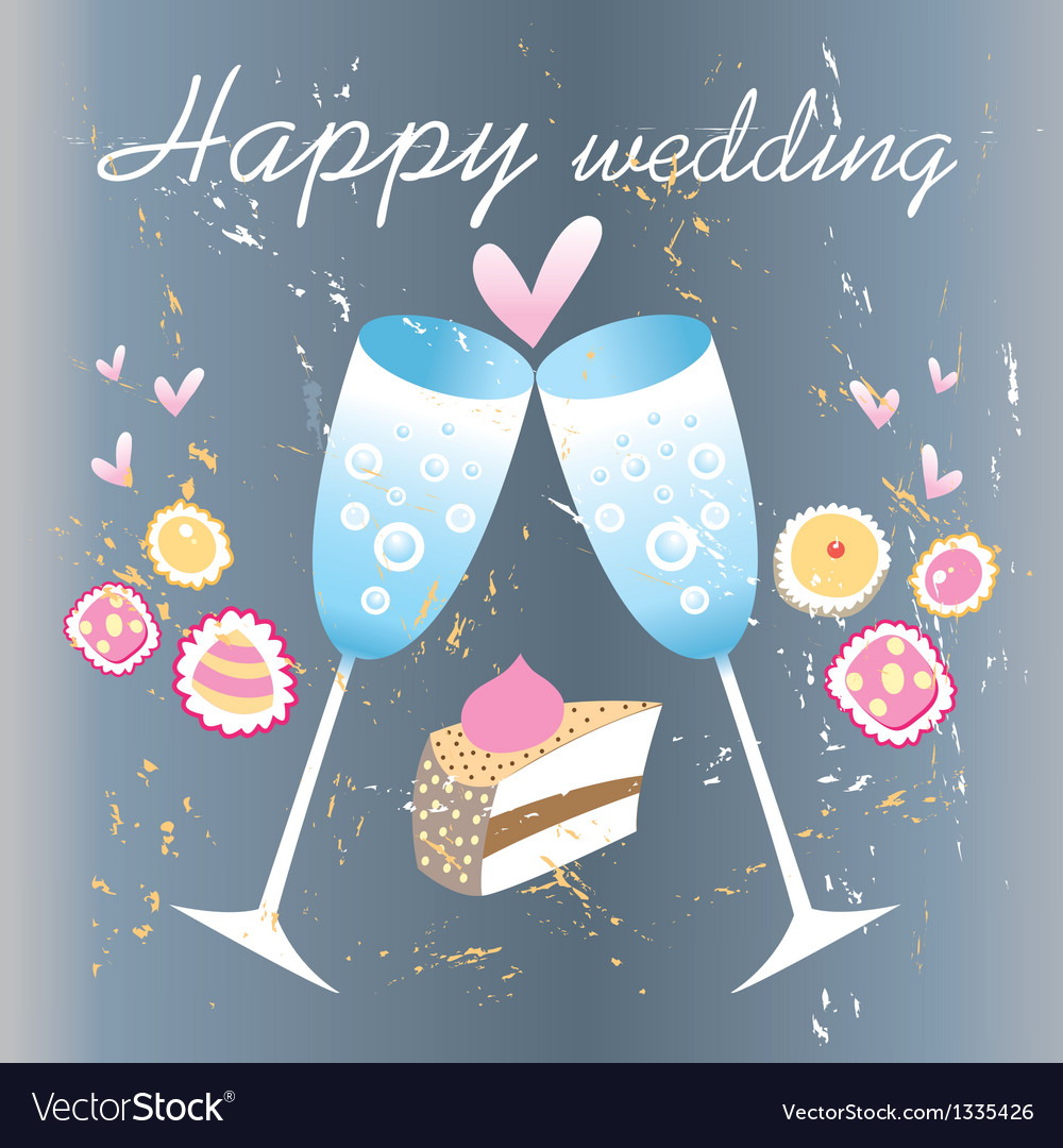 Glasses of champagne wedding card vector | Price: 1 Credit (USD $1)