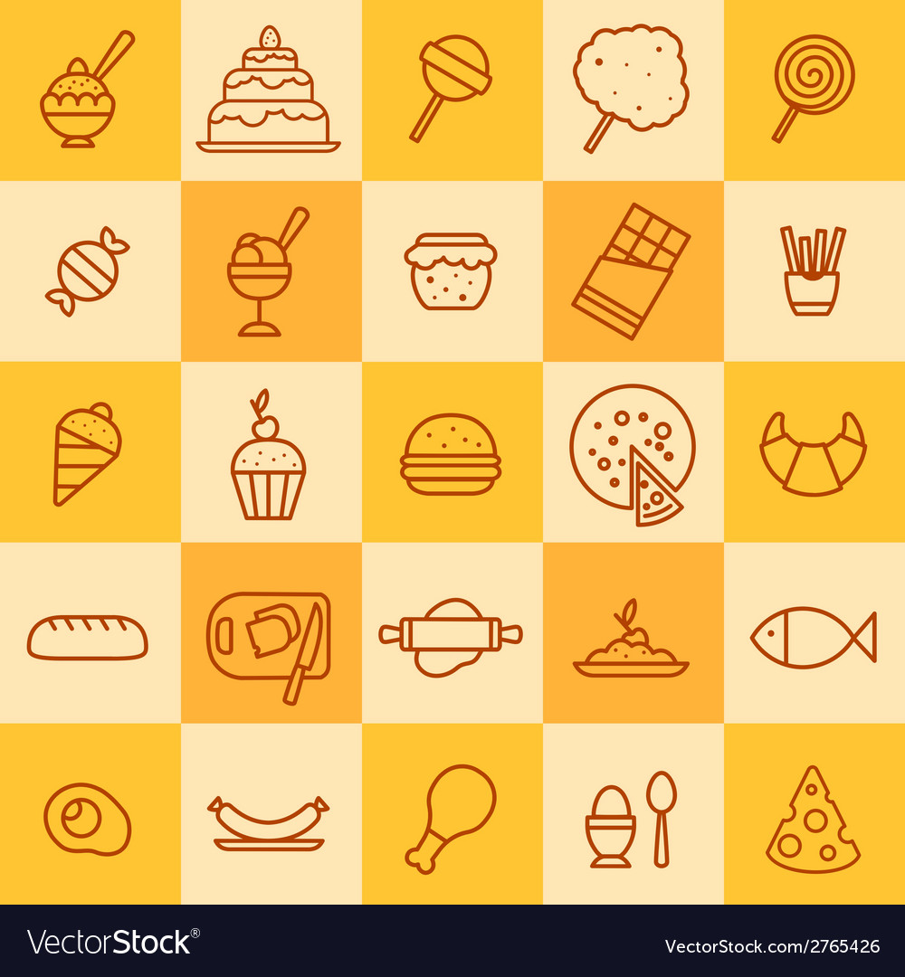 Set of icons of different kinds of food vector | Price: 1 Credit (USD $1)