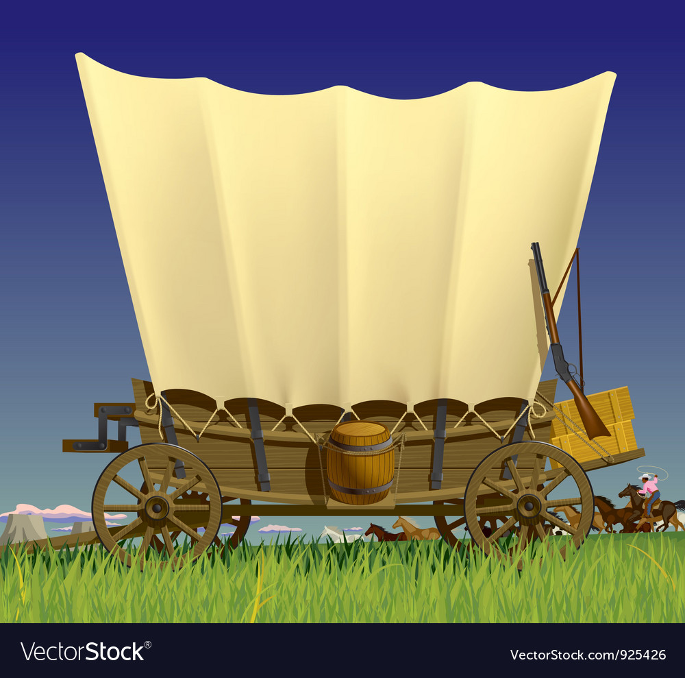 Wild west covered wagon vector | Price: 5 Credit (USD $5)