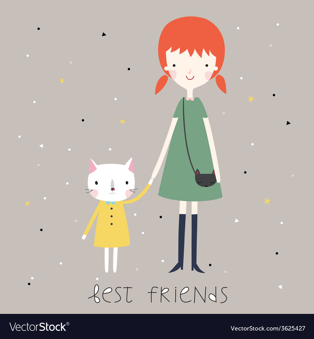 Best friends background or card vector | Price: 1 Credit (USD $1)