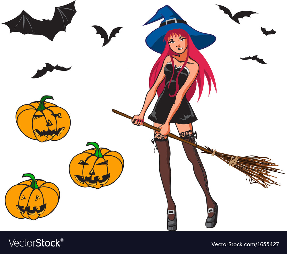 Collection with witch and pumpkins vector | Price: 1 Credit (USD $1)