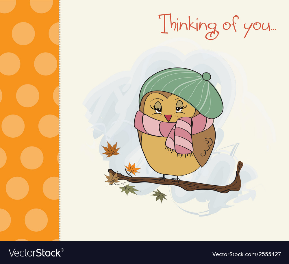 Cute female bird on the branch vector | Price: 1 Credit (USD $1)