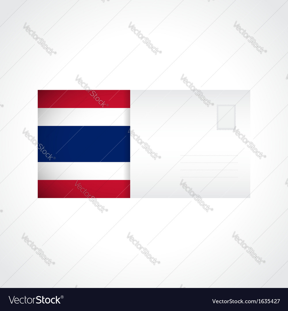 Envelope with thai flag card vector | Price: 1 Credit (USD $1)