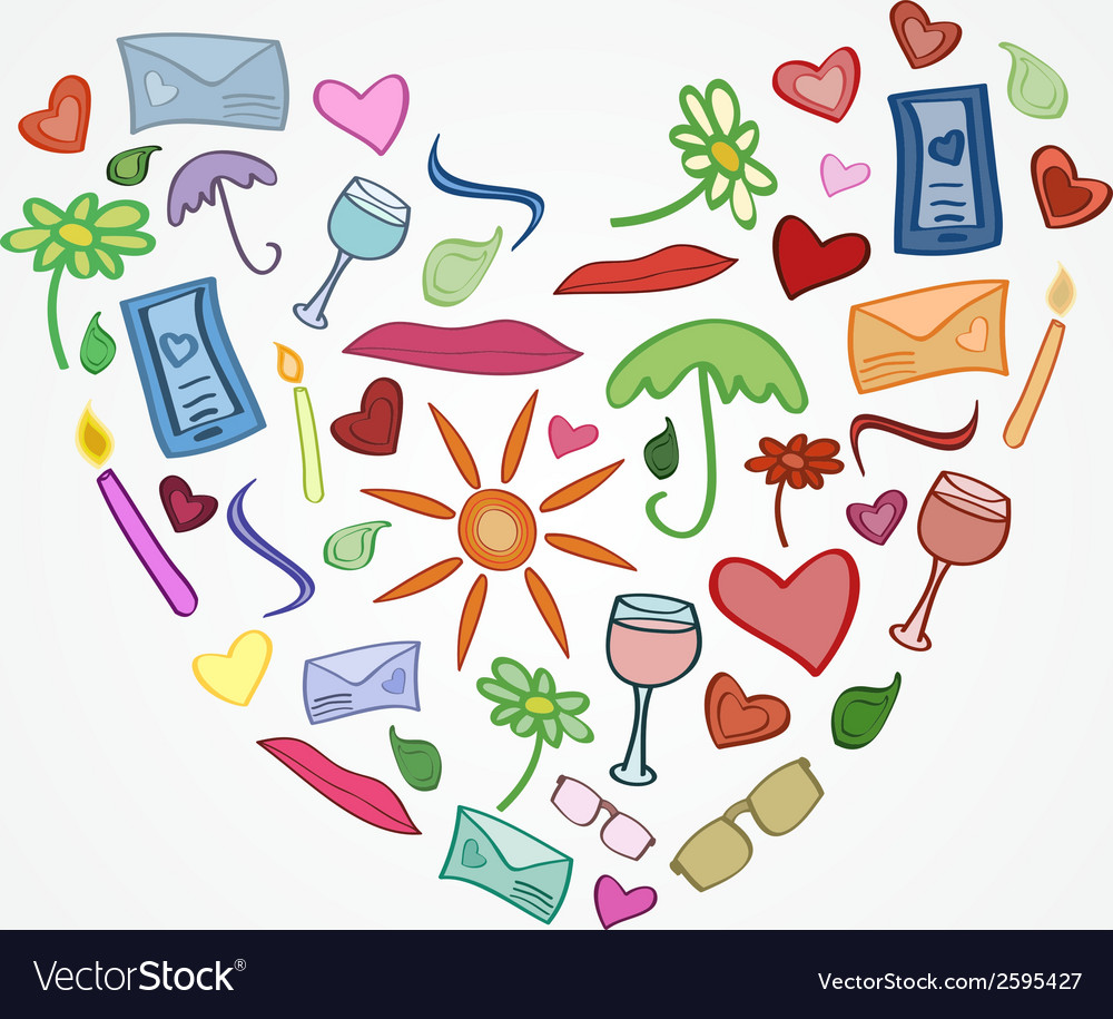 Funny love postcard heart for girlfriend or vector | Price: 1 Credit (USD $1)