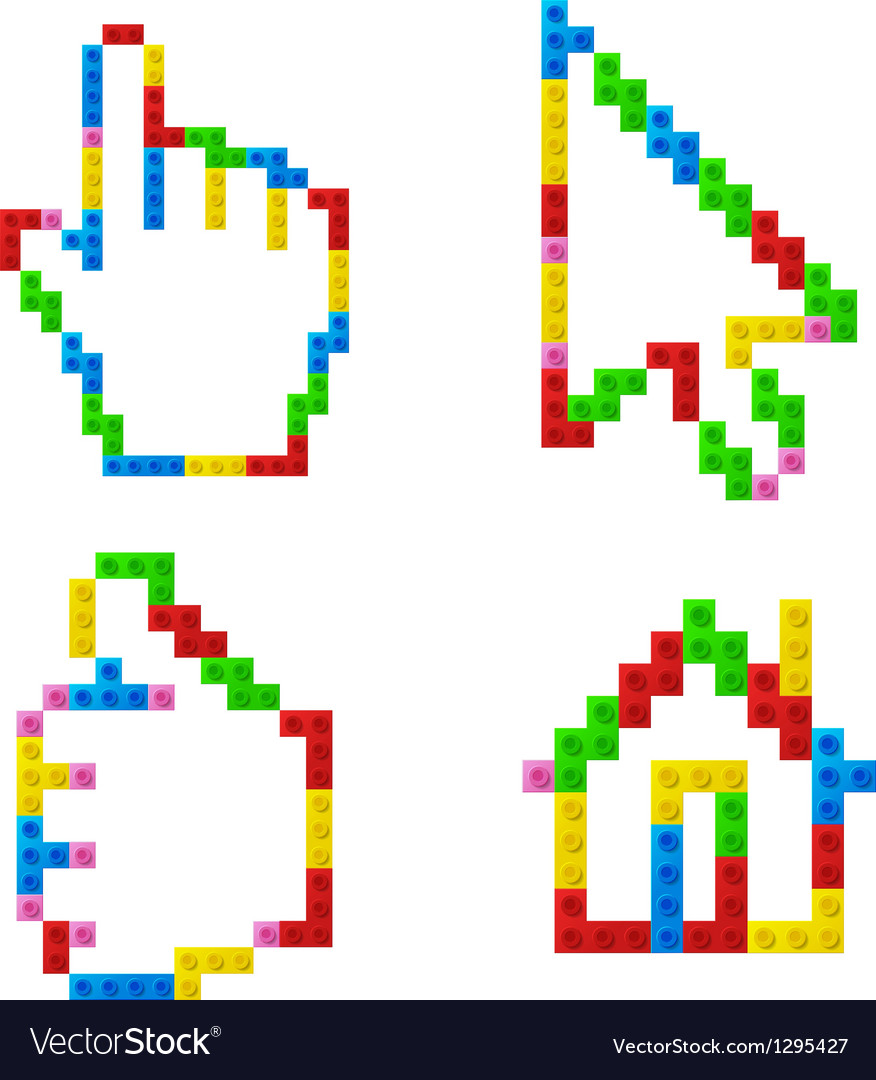 Set of icons from plastic toy blocks vector | Price: 1 Credit (USD $1)