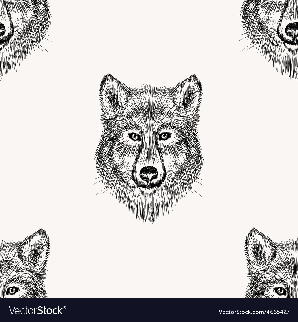 Sketch realistic face wolf seamless pattern hand vector | Price: 1 Credit (USD $1)