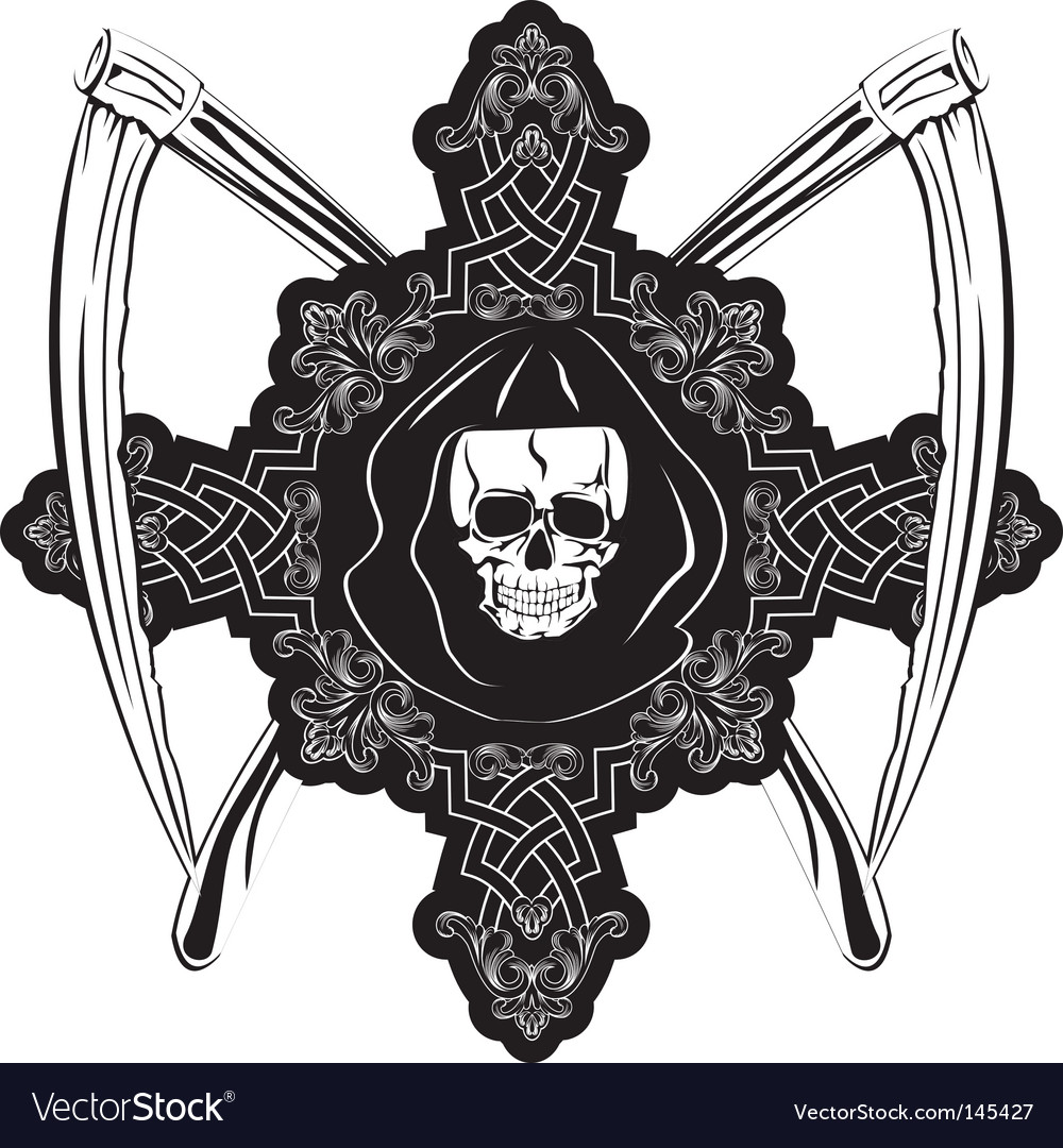 Skull in cross vector | Price:  Credit (USD $)