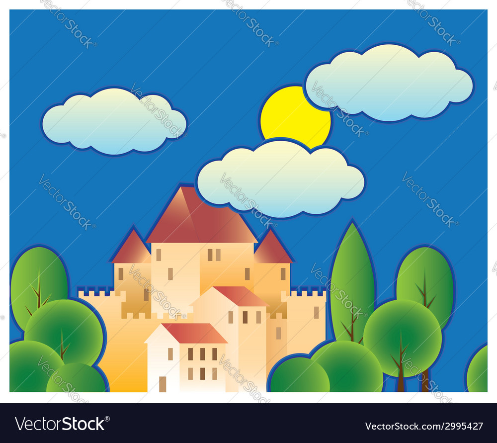 Stylized fairy tale castle vector | Price: 1 Credit (USD $1)