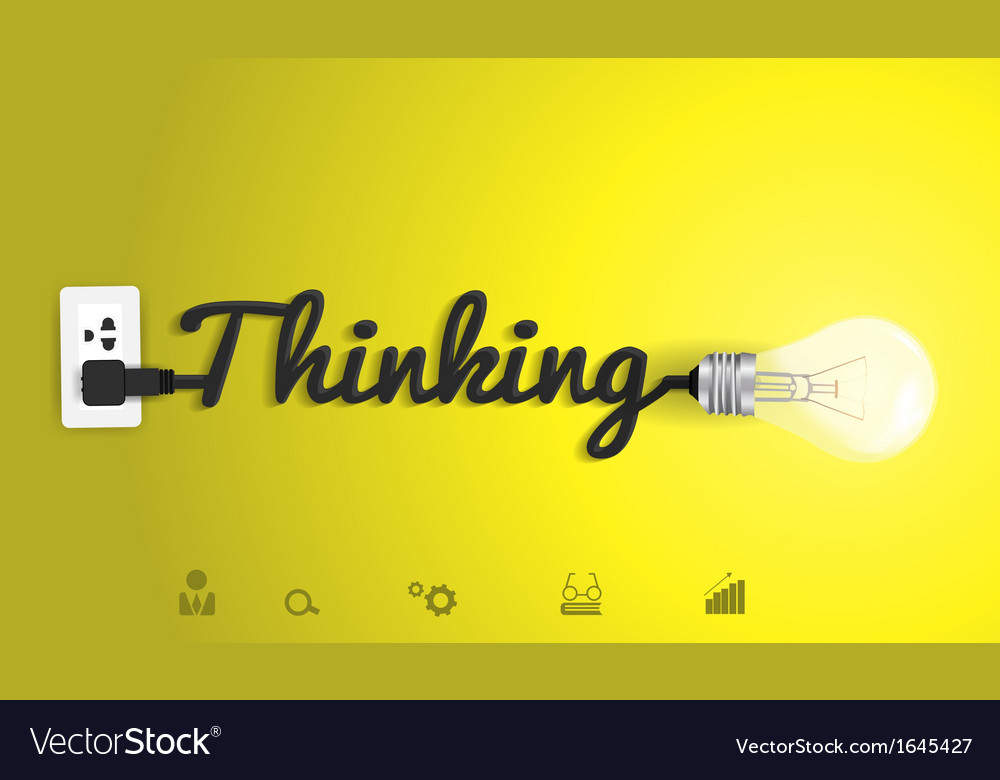 Thinking concept with creative light bulb idea vector | Price: 1 Credit (USD $1)