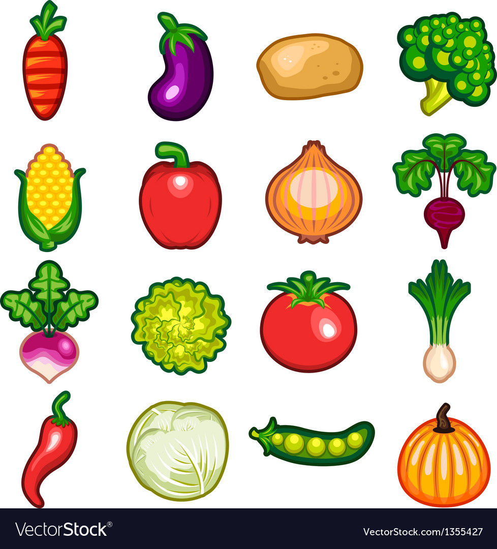 Vegetables icon set vector | Price: 3 Credit (USD $3)