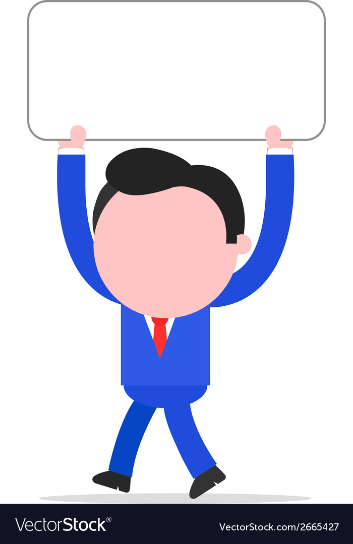 Walking businessman holding placard vector | Price: 1 Credit (USD $1)