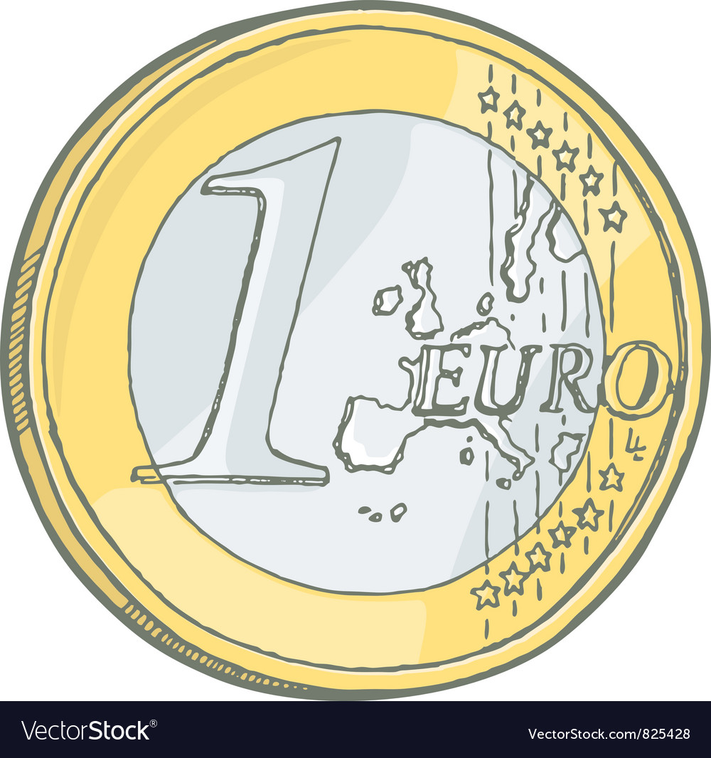1euro coin sketch vector | Price: 1 Credit (USD $1)