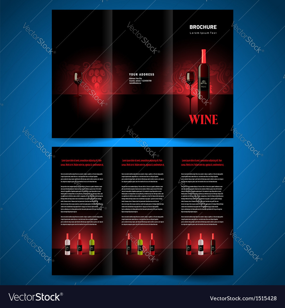 Brochure folder leaflet wine red vine vector | Price: 1 Credit (USD $1)