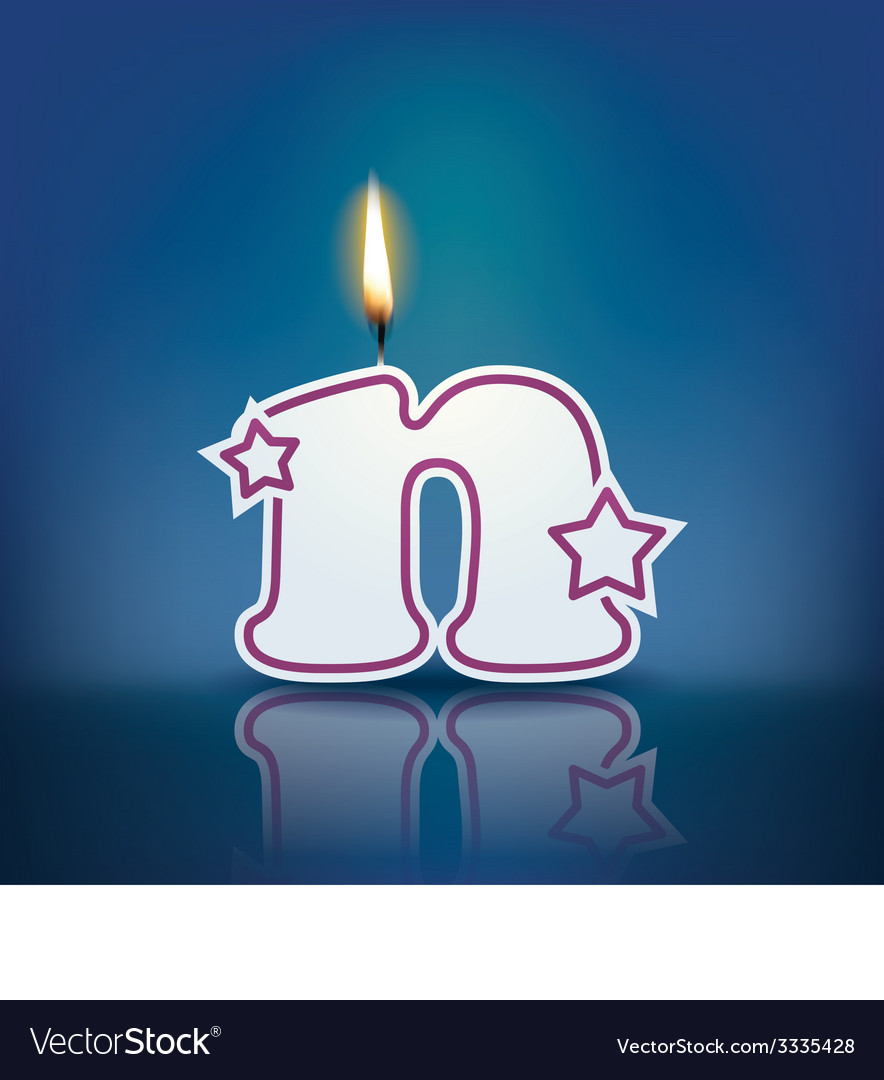 Candle letter n with flame vector | Price: 1 Credit (USD $1)