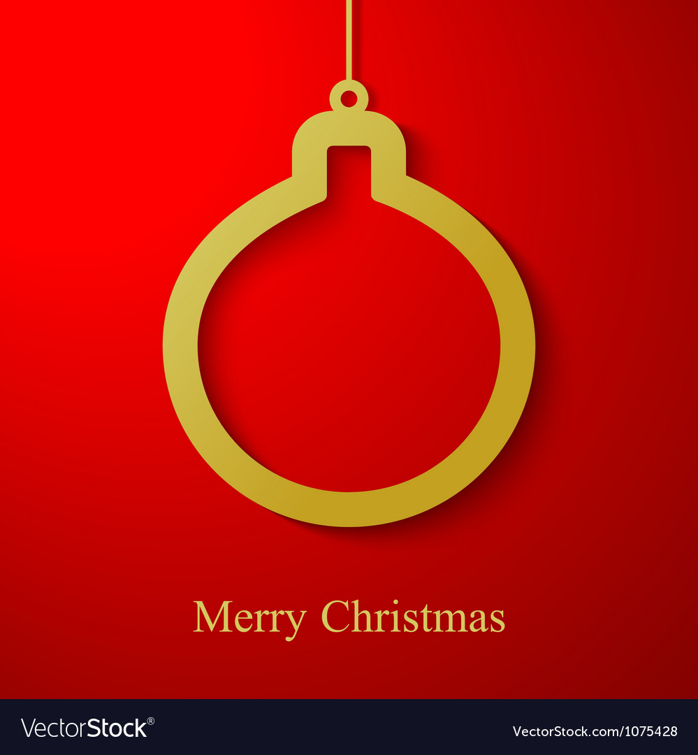 Christmas gold ball applique on red background vector | Price: 1 Credit (USD $1)