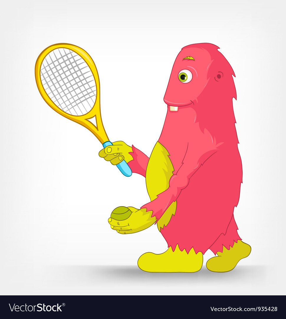 Funny monster tennis vector | Price: 1 Credit (USD $1)