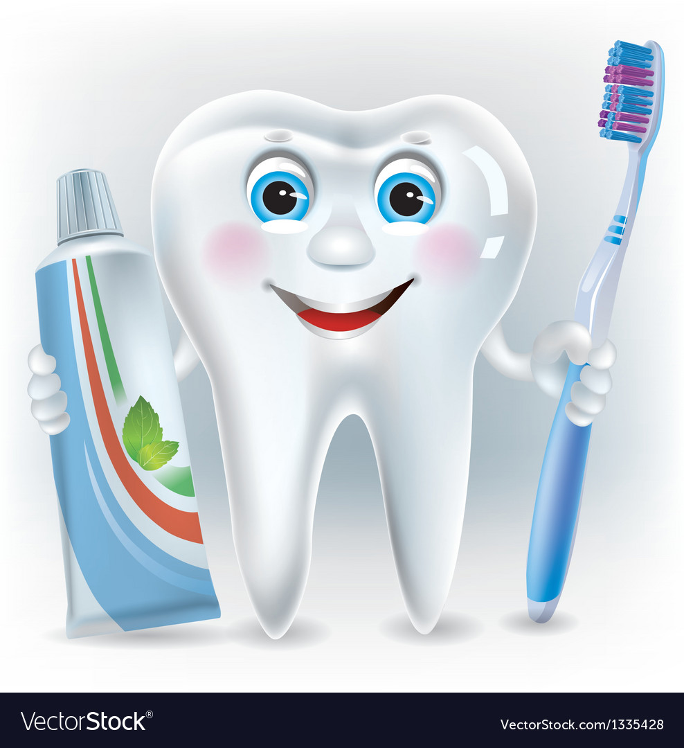 Funny tooth with toothpaste and toothbrush vector | Price: 1 Credit (USD $1)