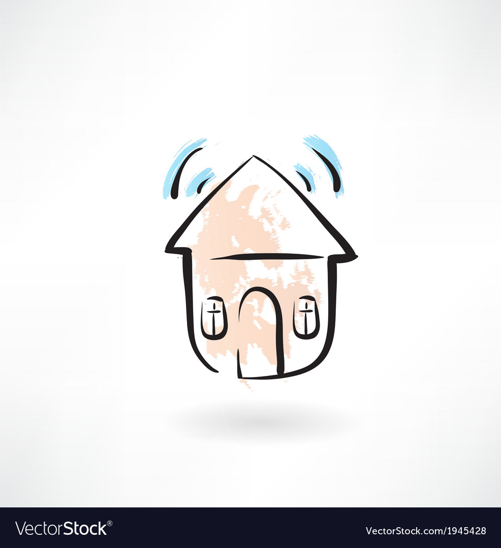 House with sound grunge icon vector | Price: 1 Credit (USD $1)