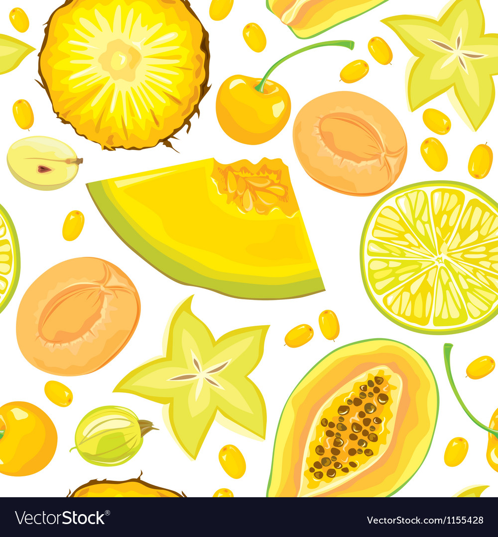 Seamless pattern of yellow fruits and berries vector | Price: 1 Credit (USD $1)