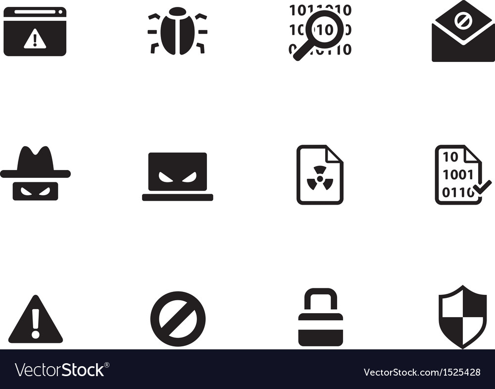 Security icons on white background vector | Price: 1 Credit (USD $1)