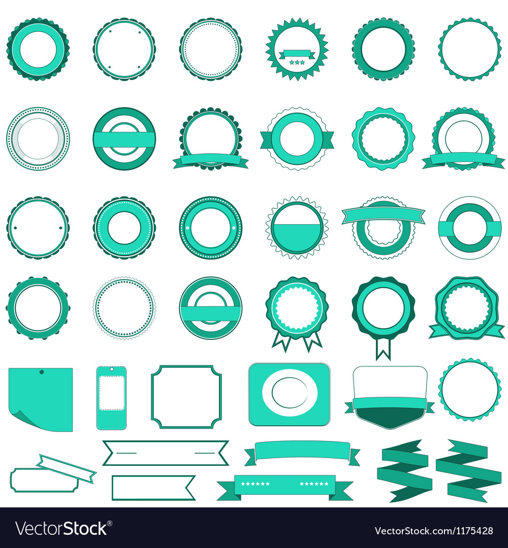 Set of sale badges labels and stickers in cyan vector | Price: 1 Credit (USD $1)