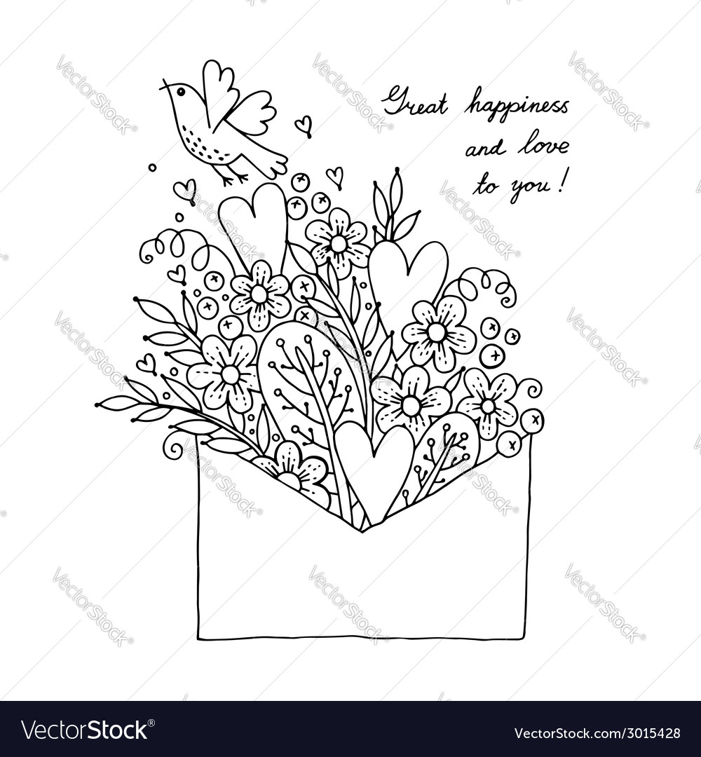 With hearts bird and flowers vector | Price: 1 Credit (USD $1)