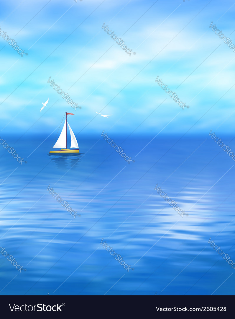 Yacht blue sea landscape vector | Price: 1 Credit (USD $1)