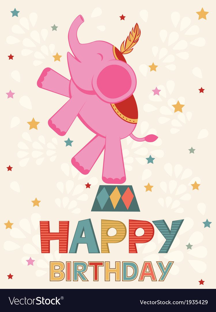 Birthday card with elephant vector | Price: 1 Credit (USD $1)