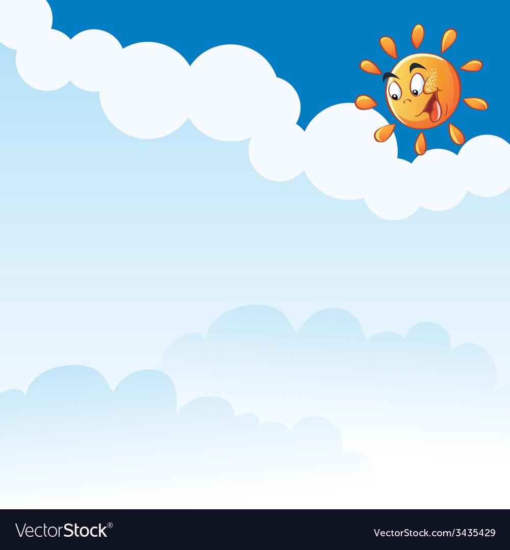 Cartoon sun clouds vector   Price: 1 Credit (USD $1)