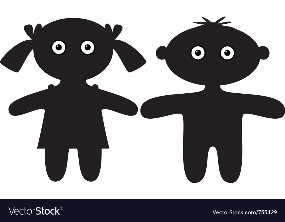 Dolls boy and girl silhouette vector | Price: 1 Credit (USD $1)