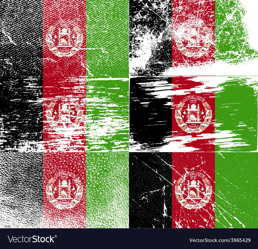 Flag of afghanistan with old texture vector | Price: 1 Credit (USD $1)