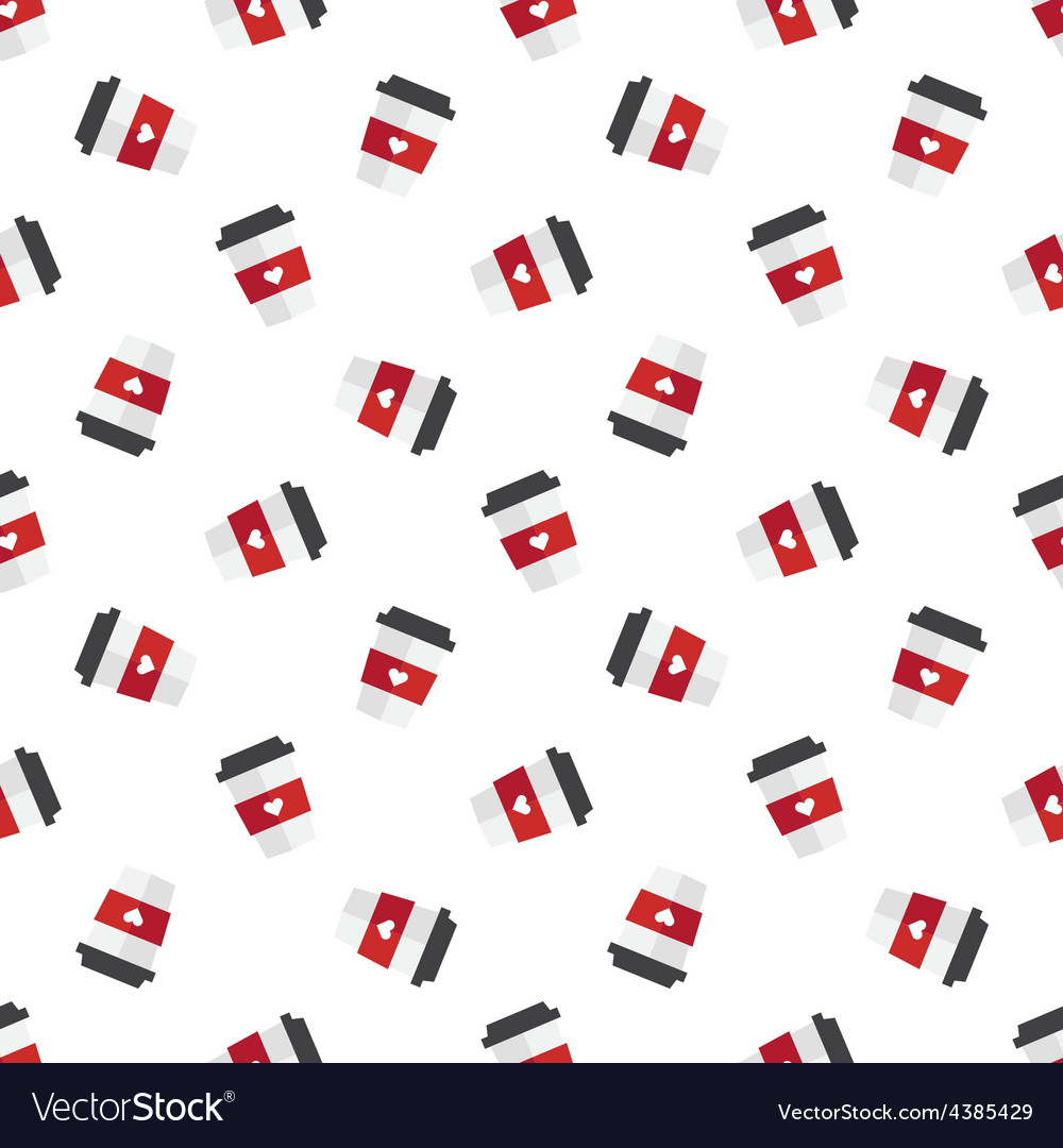 Flat coffee cup seamless pattern vector | Price: 1 Credit (USD $1)