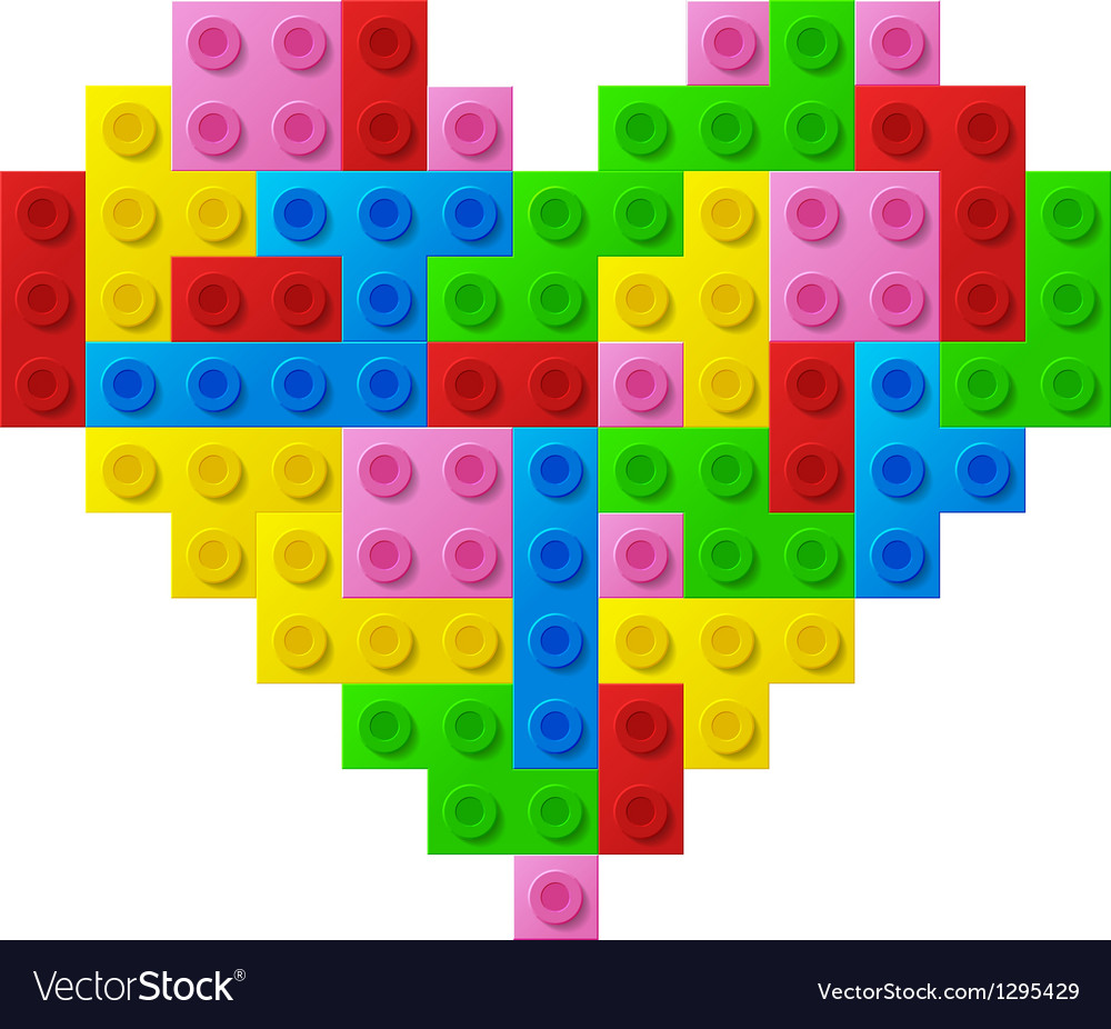 Heart from plastic toy blocks vector | Price: 1 Credit (USD $1)