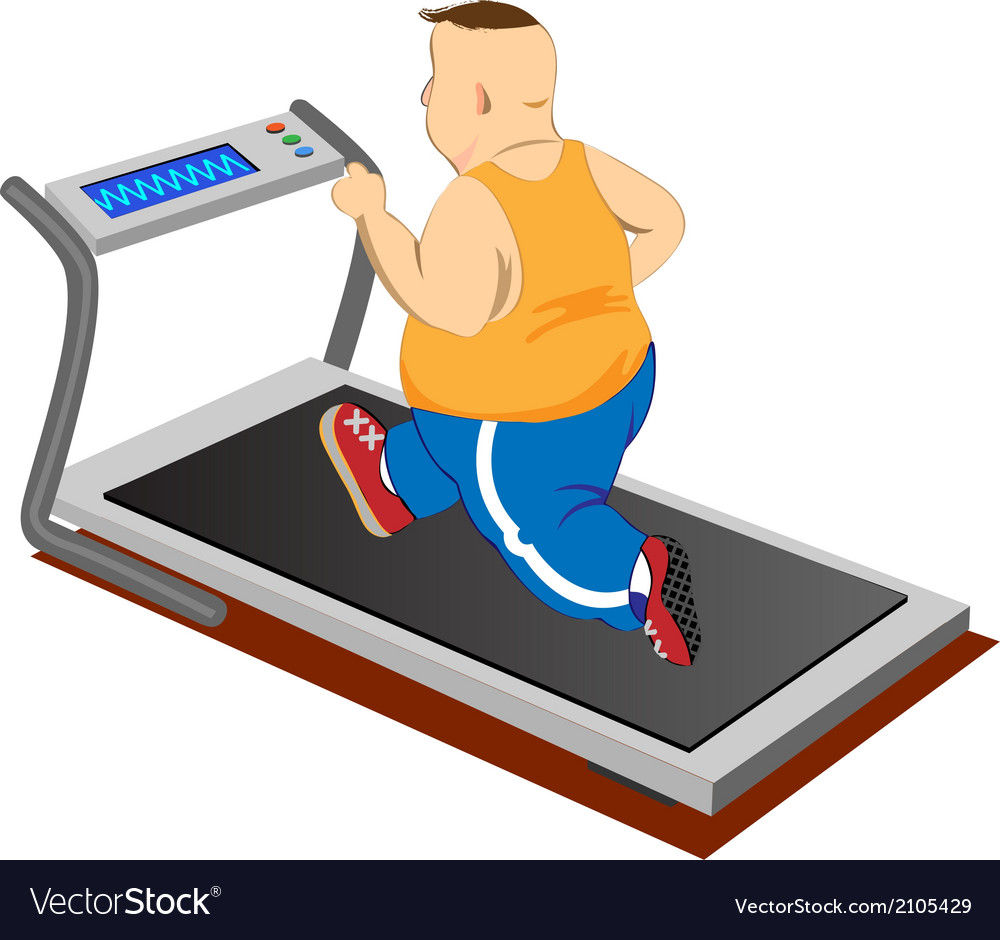Overweight men running on a treadmill vector | Price: 1 Credit (USD $1)