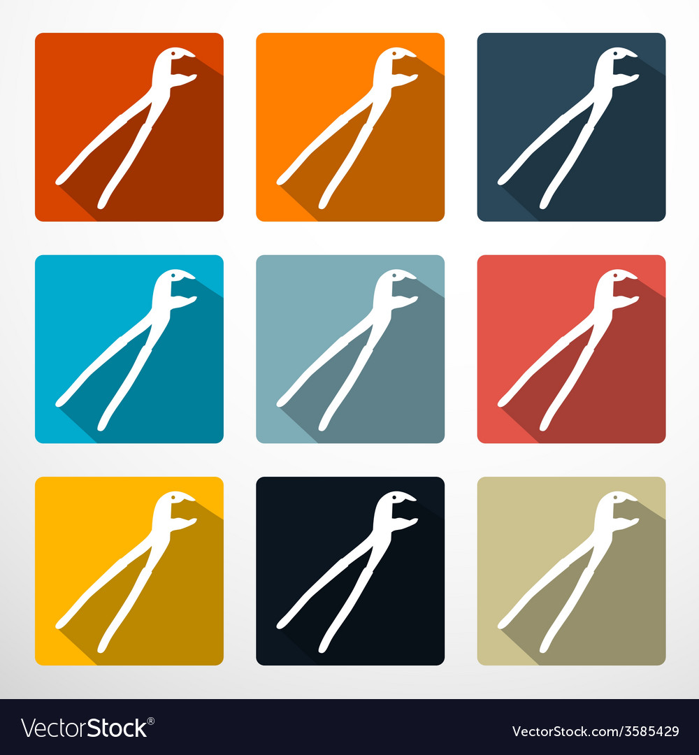 Pliers - pincers flat design icons set vector | Price: 1 Credit (USD $1)