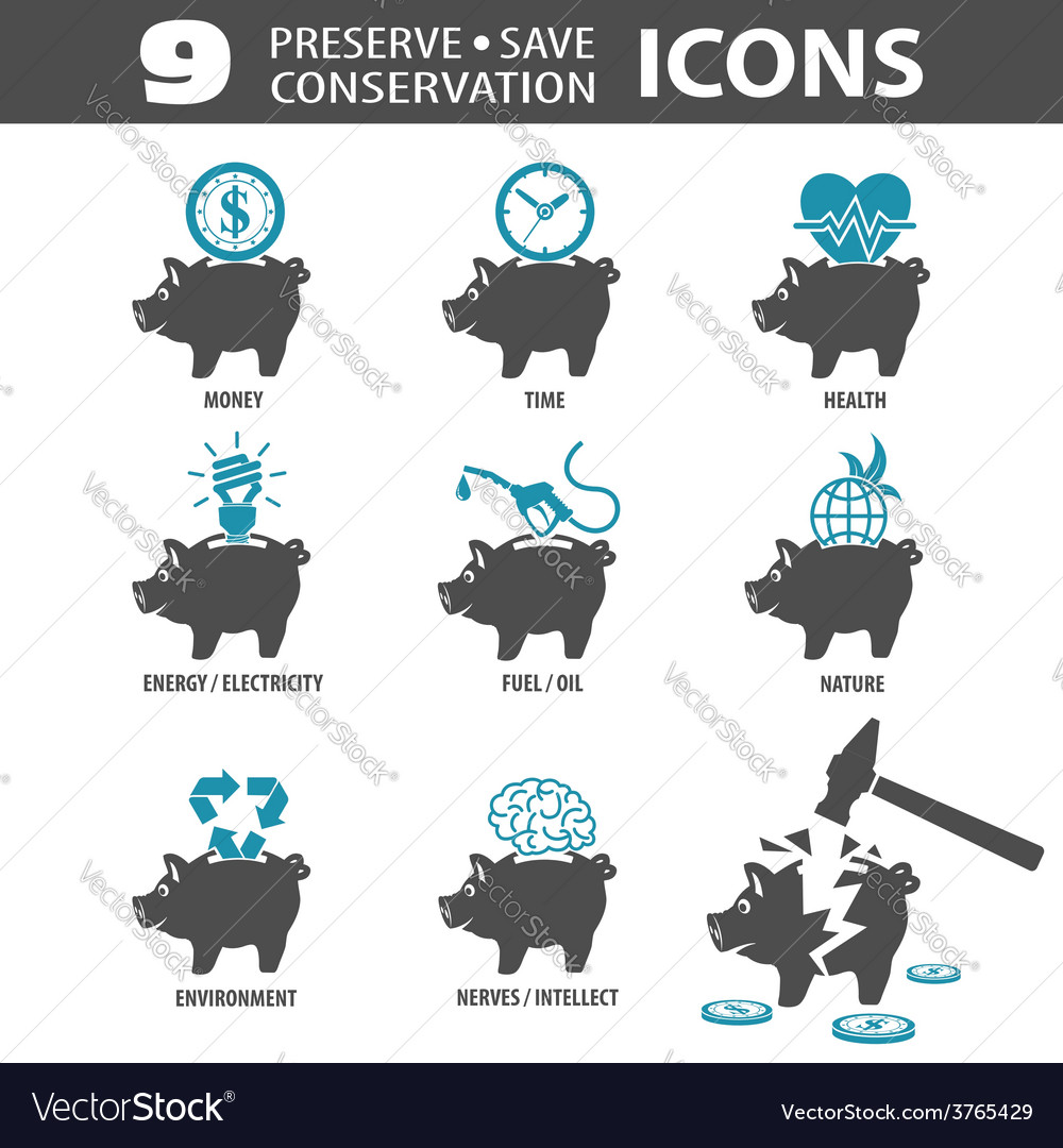 Preserve save icons vector