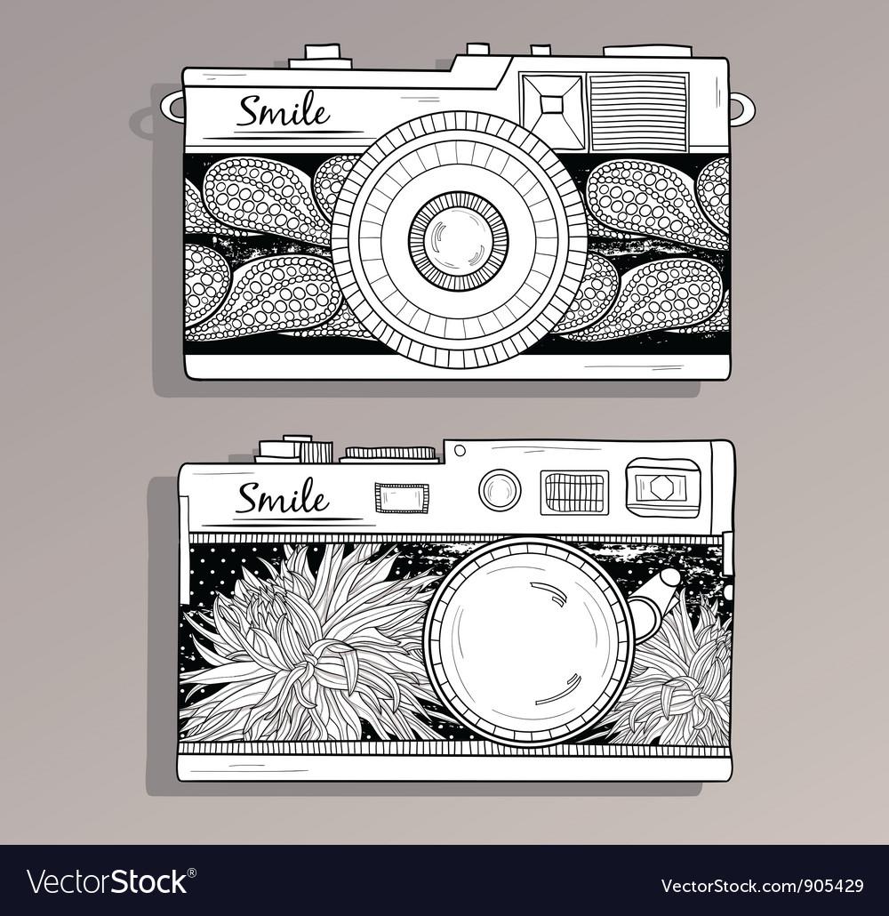 Retro photo cameras set vector | Price: 1 Credit (USD $1)