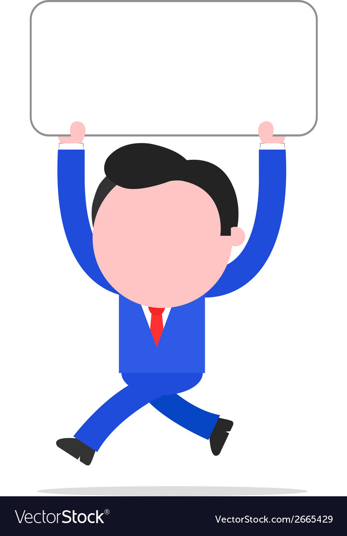 Running businessman holding placard vector | Price: 1 Credit (USD $1)