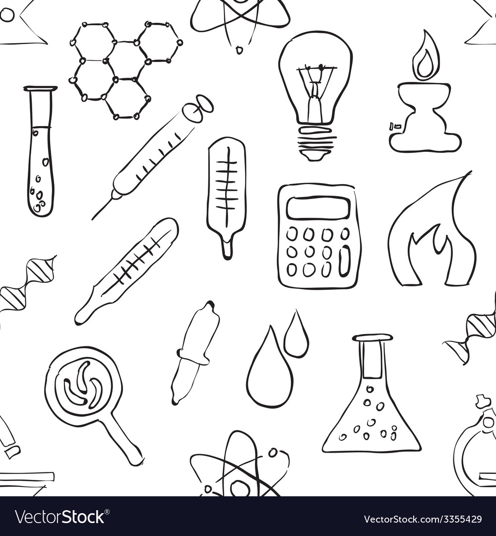 Sketch seamless laboratory pattern vector | Price: 1 Credit (USD $1)