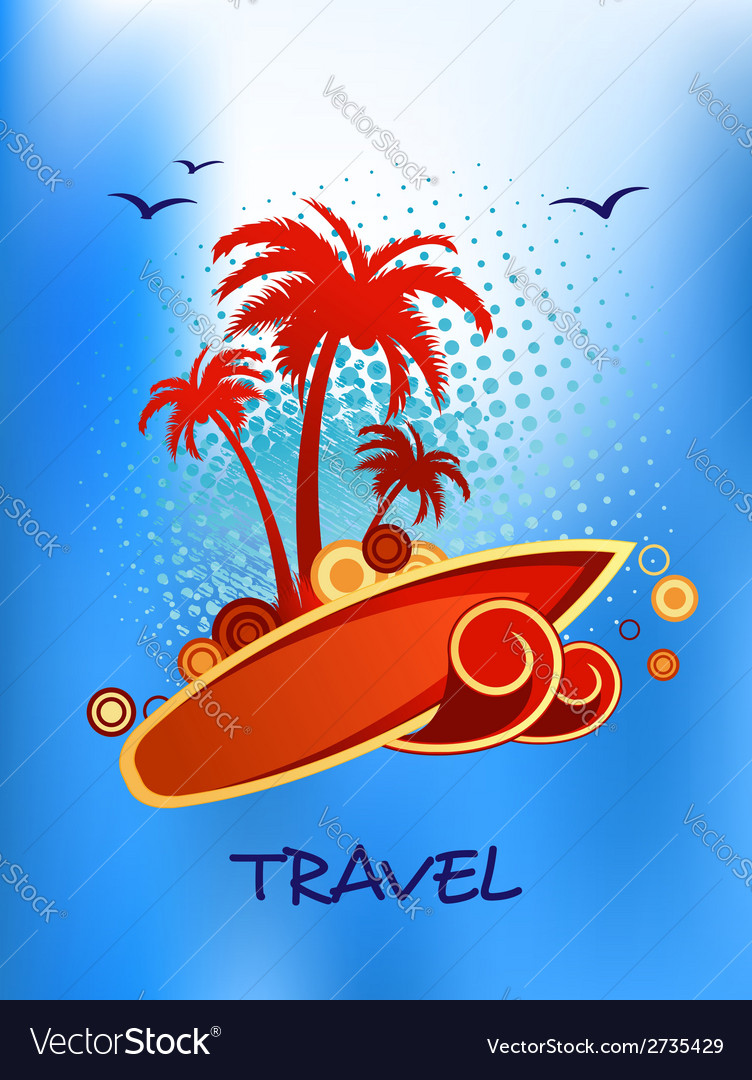 Tropical island travel poster vector | Price: 1 Credit (USD $1)
