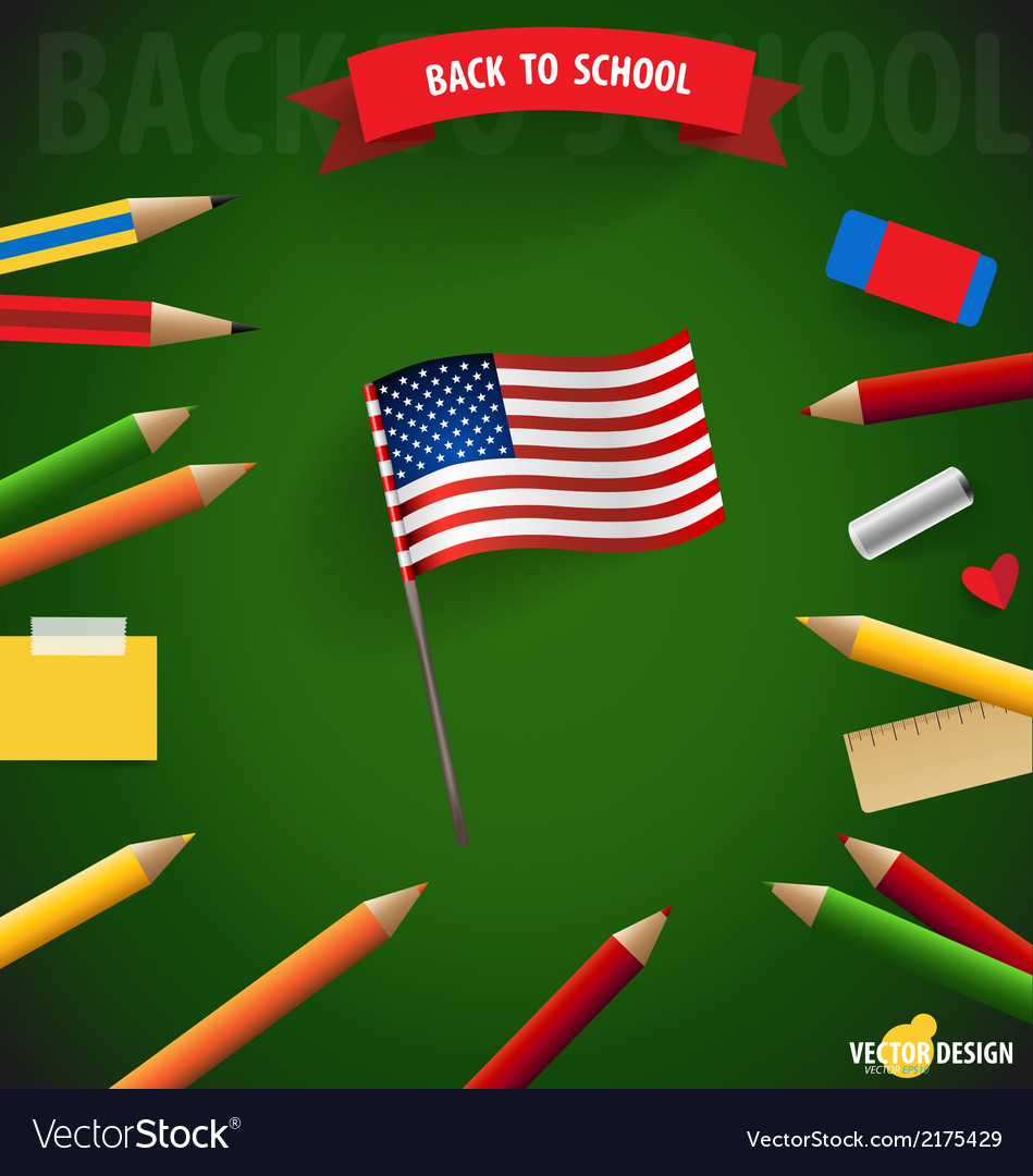 Welcome back to school with american flag vector | Price: 1 Credit (USD $1)