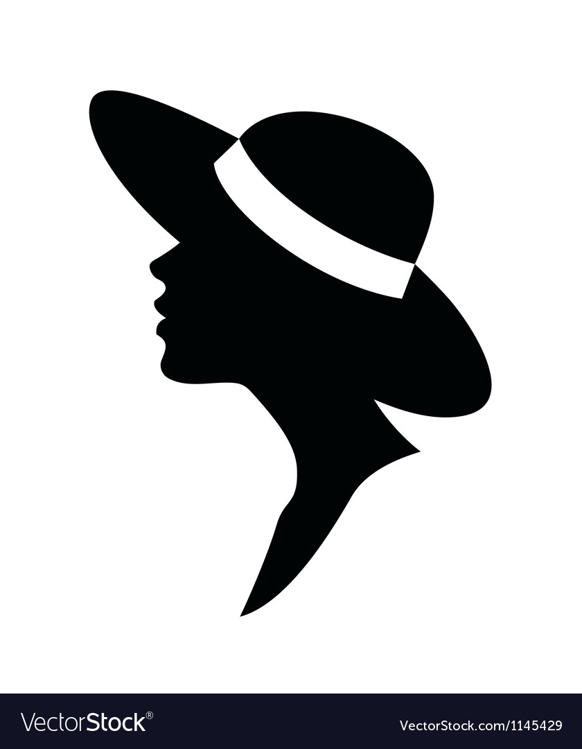 Young woman head silhouette in a hat vector | Price: 1 Credit (USD $1)